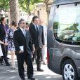 Jack Lang en familleaux obsèques de Valérie Lang au cimetière de Montparnasse à Paris le 25 juillet 2013