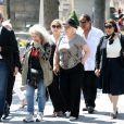 Marilou Berry, Josiane Balasko et son mariaux obsèques de Valérie Langau cimetière de Montparnasse à Paris le 25 juillet 2013