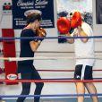 Adriana Lima très concentrée lors d'une séance de boxe à Miami le 27 juillet 2013