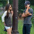 Taylor Lautner et sa nouvelle girlfriend Marie Avgeropoulos à SoHo, New York, le 29 juillet 2013.