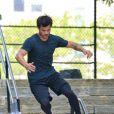 Exclusif - Taylor Lautner sur le tournage du film Tracers à New York, le 19 juillet 2013.