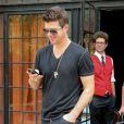 Robin Thicke, Paula Patton et leur fils Julian à la sortie de leur hôtel à New York, le 31 juillet 2013.