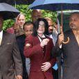 Michael Jackson lors de son procès à Santa Maria, le 27 avril 2005.