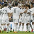 Luka Modric, Angel Di Maria, Cristiano Ronaldo, Nacho Fernandez, Raul Gonzalez Blanco et Casemiroà Madridle 22 août 2013.