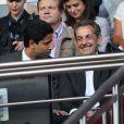 Nasser Al Khelaifi et Nicolas Sarkozy lors de la rencontre de Ligue 1 entre le PSG et Guingamp (2-0), au Parc des Princes, le 31 août 2013.