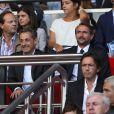 Nicolas Sarkozy et Jean-Claude Blanc lors de la rencontre de Ligue 1 entre le PSG et Guingamp (2-0), au Parc des Princes, le 31 août 2013.