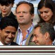 Nicolas Sarkozy et Nasser lors de la rencontre de Ligue 1 entre le PSG et Guingamp (2-0), au Parc des Princes, le 31 août 2013.