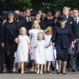 Mabel, Luana, Zaria et Beatrix en tête du cortège funèbre lors des obsèques du prince Friso d'Orange-Nassau, le 16 août 2013 à Lage Vuursche, tout près du château Drakensteyn.
