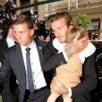 David Beckham et sa fille Harper arrivent au restaurant Balthazar pour un déjeuner en famille. New York, le 8 septembre 2013.