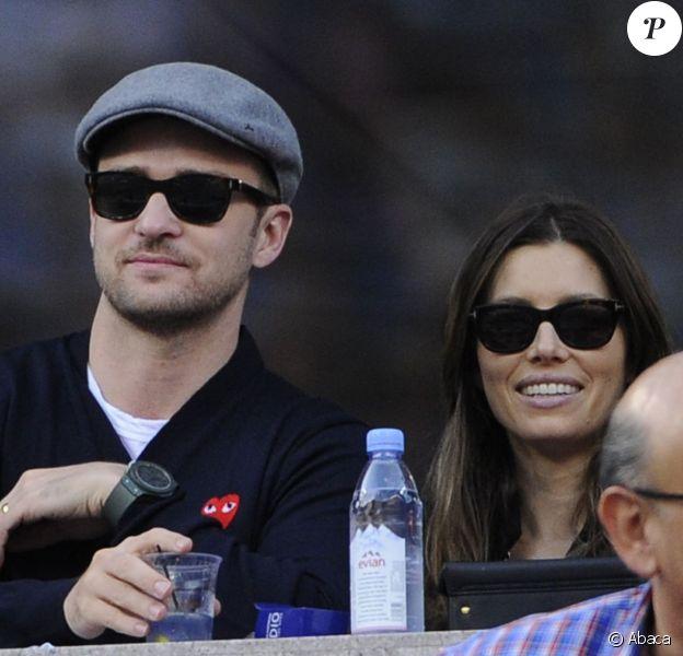 Justin Timberlake et Jessica Biel lors de la finale de l'US Open entre Rafael Nadal et Novak Djokovic le 9 septembre 2013 à Flushing Meadows