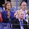 La reine Sofia d'Espagne lors de la finale de l'US Open entre Rafael Nadal et Novak Djokovic le 9 septembre 2013 à Flushing Meadows
