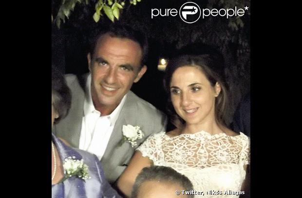 Nikos Aliagas au mariage de sa soeur Maria sur l'île paradisiaque de Kéa, située dans le Sud de la Grèce, week-end du 7 septembre 2013.