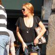 Lindsay Lohan à la sortie du restaurant Lure à Soho, New York, le 10 septembre 2013.
