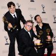 """Josh Earl, Rob Butler et Alex Durham récompensés pour le montage de l'émission """"Deadliest Catch"""" lors des Creative Arts Emmy Awards à Los Angeles, le 15 septembre 2013."""