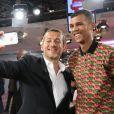 """Dany Boon et Stromae (Paul Van Haver) lors de l'enregistrement de l'émission """"Vivement Dimanche"""" à Paris le 18 septembre 2013, qui sera diffusée le 22 septembre."""