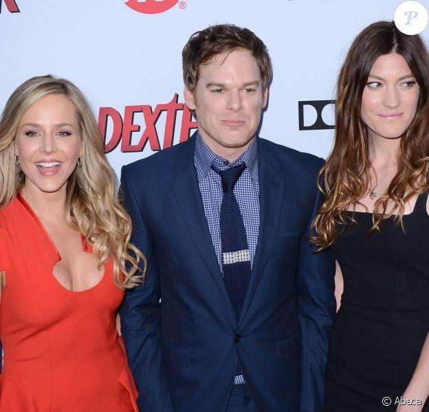 Jennifer Carpenter, Julie Benz, Michael C. Hall à la soirée de présentation de la dernière saison de Dexter, à Hollywood, le 15 juin 2013.