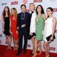 Jennifer Carpenter, Julie Benz, Michael C. Hall, Yvonne Strahovski, Jaime Murray, Aimee Garcia à la soirée de présentation de la dernière saison de Dexter, à Hollywood, le 15 juin 2013.
