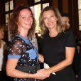 Valérie Trierweiler et Florence Cassez, heureuses de se retrouver pour le mariage du conseiller régional PS Jean Luc Roméro et de Christophe Michel le 27 Septembre 2013.