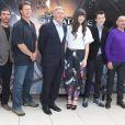 """Harrison Ford, Hailee Steinfeld, Asa Butterfield, Sir Ben Kingsley pendant le photocall du film """"La stratégie Ender"""" à l'hôtel Mandarin à Paris, le 2 octobre 2013."""