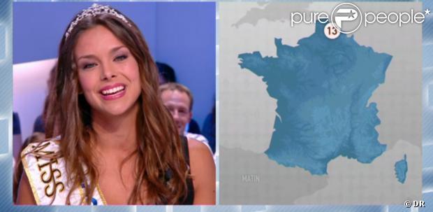 Miss France 2013 fait la pluie et le beau temps dans le Grand Journal, le vendredi 4 octobre 2013.