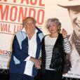 Georges Lautner et son épouse lors de la soirée d'ouverture du Festival Lumière à Lyon et l'hommage à Jean-Paul Belmondo au sein de la Halle Tony Garnier, le 14 octobre 2013