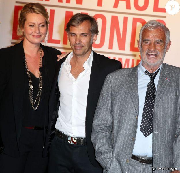 Luana et Paul Belmondo, Jean-Paul Belmondo lors de la soirée d'ouverture du Festival Lumière à Lyon et l'hommage à Jean-Paul Belmondo au sein de la Halle Tony Garnier, le 14 octobre 2013