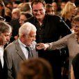Quentin Tarantino, Claudia Cardinale, Paul et Jean-Paul Belmondo lors de la soirée d'ouverture du Festival Lumière à Lyon et l'hommage à Jean-Paul Belmondo au sein de la Halle Tony Garnier, le 14 octobre 2013