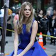 Cara Delevingne donne toute son energie lors d'un shooting photo pour DKNY à New York le 15/10/2013