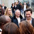 Laurent Gerra et sa compagne Christelle pour les 30 ans de l'Institut Lumière à Lyon le 19 octobre 2013.