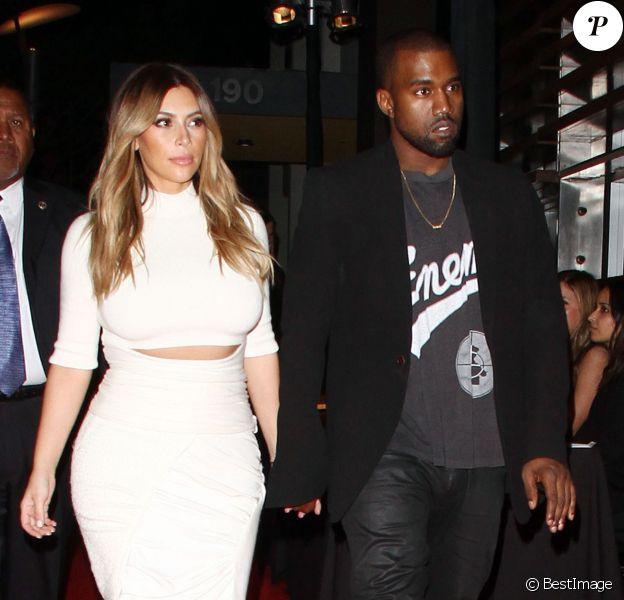 Kim Kardashian et Kanye West arrivent au restaurant Spago à Beverly Hills pour le gala de la fondation Dream for Future Africa. Le 24 octobre 2013.