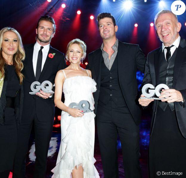 "Anastacia, David Beckham, Kylie Minogue, Robin Thicke et Jean-Paul Gaultier au gala ""GQ Men of the Year Awards"" à Berlin, le 7 novembre 2013."