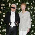 Karl Lagerfeld et Tilda Swinton lors de la soirée A Tribute To Tilda Swinton au MoMA. New York, le 5 novembre 2013.