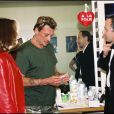 Nathalie Baye et Johnny Hallyday avec Fabrice Luchini à Paris le 26 juin 2000