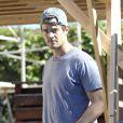 Exclusif - Josh Duhamel est allé voir les travaux dans sa nouvelle maison en construction à Brentwood. Le 14 novembre 2013.