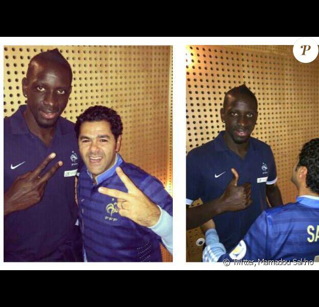 Jamel Debouzze et Mamadou Sakho au Stade de France à Saint-Denis le 19 novembre 2013