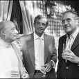 Michel Audiard, Jean-Paul Belmondo et Georges Lautner en septembre 1979 à Cannes