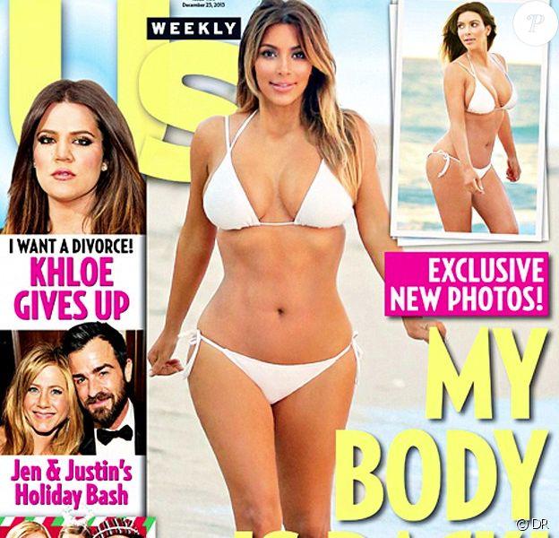 Couverture du magazine Us Weekly avec une Kim Kardashian amincie. Décembre 2013