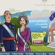 Page d'accueil : le roi Juan Carlos Ier et la reine Sofia, rajeunis, souhaitent la ''Bienvenue chez vous''. Le site Internet de la monarchie espagnole a lancé en décembre 2013 une interface jeunesse. Une version bande dessinée et ludique de l'outil de communication de la Maison royale...