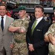 Arnold Schwarzenegger et Sylvester Stallone lors de l'avant-première du film Expendables 2 à Londres le 13 août 2012