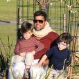 Exclusif - Ricky Martin et ses fils Matteo et Valentino, dans un parc à Sydney, en Australie, le 18 mai 2013.