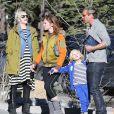 Exclusif - Gwen Stefani, enceinte, profite de son dernier jour de vacances au ski avec son mari Gavin Rossdale et leurs fils Kingston et Zuma. Mammoth, le 5 janvier 2014.