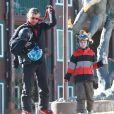 Exclusif - Gavin Rossdale et son fils Kingston à Mammoth, le 5 janvier 2014.