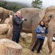 Exclusif - Stéphanie de Monaco et le photographe Frédéric Nebimger prenant la pose avec les éléphantes Baby et Nepal au domaine de Fonbonne, le 10 janvier 2014. Le photographe signe une exposition retraçant l'aventure de la princesse pour le sauvetage de ces bêtes.