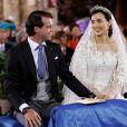 Image du mariage religieux du prince Felix de Luxembourg et de la princesse Claire de Luxembourg (née Lademacher), très amoureux, en la basilique Sainte-Marie-Madeleine de Saint-Maximin-la-Sainte-Baume, le 21 septembre 2013. Le couple a annoncé le 14 janvier 2014 attendre son premier enfant.