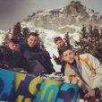 Timor Steffens et Rocco, le fils de Madonna, à Gstaad, le 3 janvier 2014.