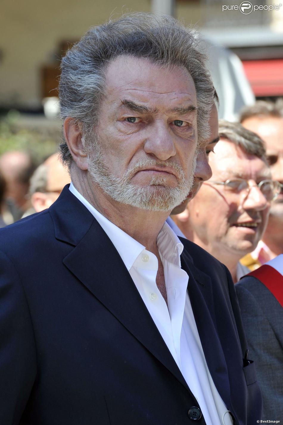 Eddy Mitchell lors du tournage du film Salaud, on t'aime le 31 juillet 2013 à Saint-Gervais-les-Bains