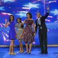 Sasha, Malia, Michelle et Barack Obama à Charlotte (Caroline du Nord), le 7 septembre 2012.