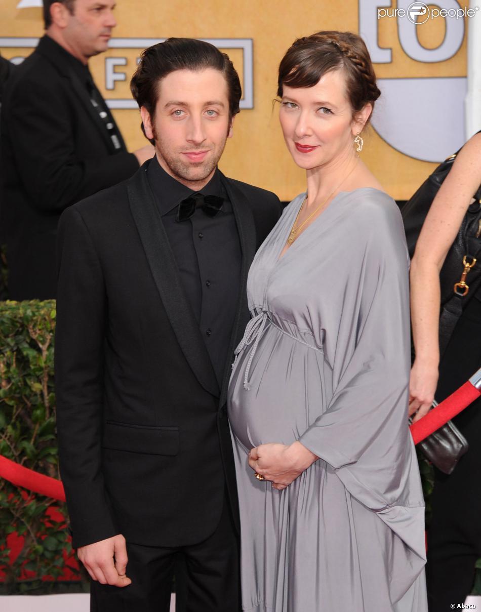 Simon Helberg et sa femme Jocelyn Towne enceinte lors des SAG Awards 2014 à Los Angeles, le 18 janvier.