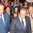 Julie Gayet et Aurélie Filippetti lors de la convention d'investiture de François Hollande à la tête du PS pour l'élection présidentielle de 2012 à Paris, le 22 octobre 2011