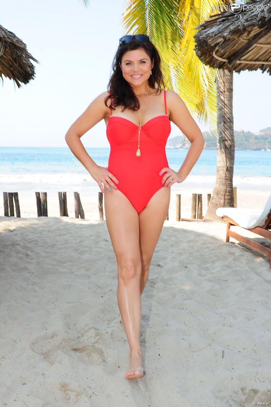 Tiffani Thiessen prend la pose en bikini à Mexico, le 27 janvier 2014.